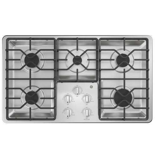 "GE 36"" Built-In Deep-Recessed Gas Cooktop Stainless Steel - JGP3036SLSS"