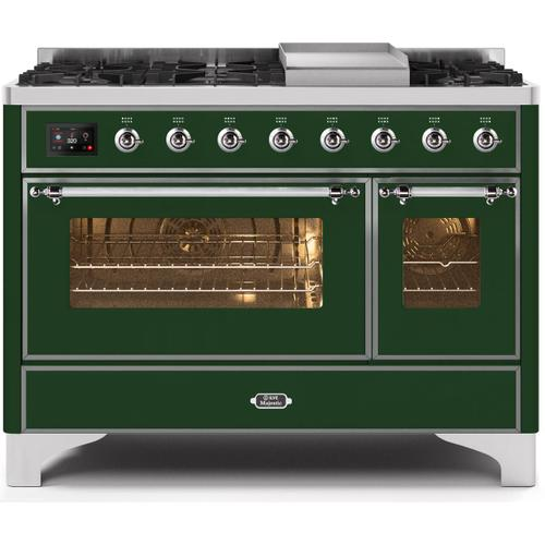 Majestic II 48 Inch Dual Fuel Natural Gas Freestanding Range in Emerald Green with Chrome Trim