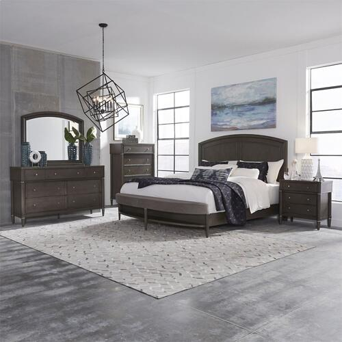 King Opt Panel Bed, Dresser & Mirror, Chest, N/S