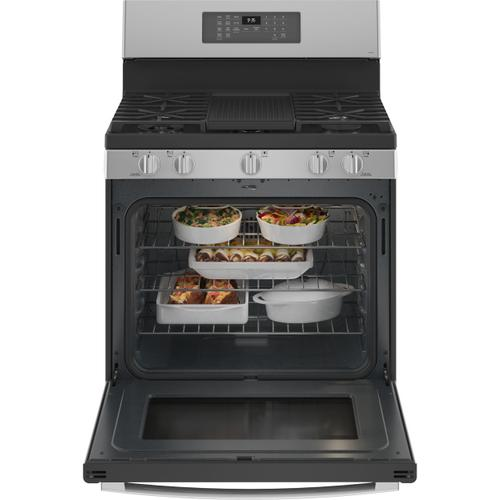 """Product Image - GE Profile™ 30"""" Free-Standing Self Clean Dual-Fuel Fingerprint Resistant Range with Storage Drawer"""