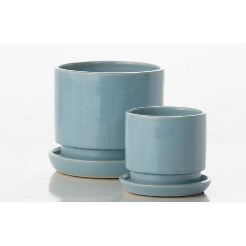 Alfresco Home - Brit Cylinder Petits Pots w/ attached saucer - Blue (set of 2)