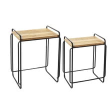 Black with Wood Top Nested Table (2 pc. set)