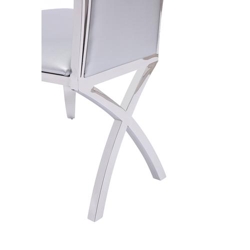 Modrest Bonnie Modern Silver Leatherette & Stainless Steel Dining Chair (Set of 2)