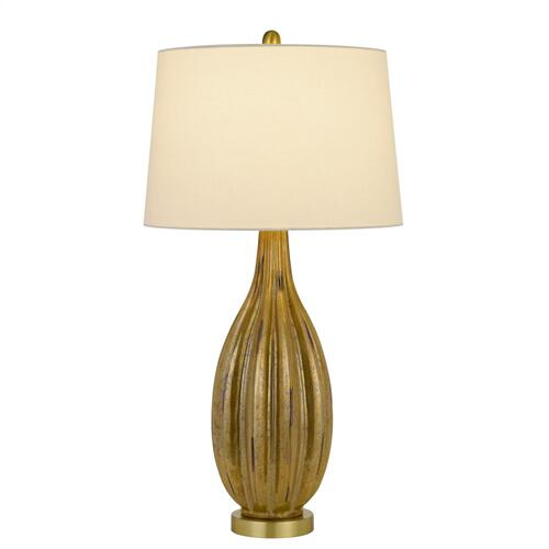 150W 3 way Morlaix glass table lamp with hardback taper fabric drum shade