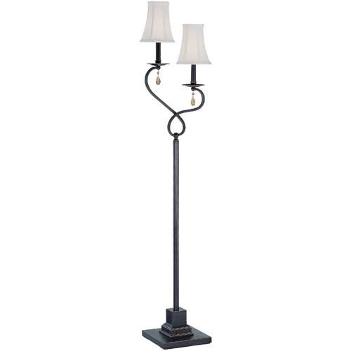 2 Lites Floor Lamp - Dark Brz/off-white Shade, E12 B 60wx2