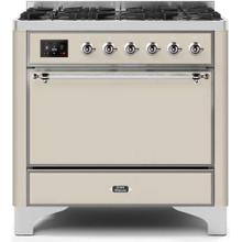 See Details - Majestic II 36 Inch Dual Fuel Liquid Propane Freestanding Range in Antique White with Chrome Trim