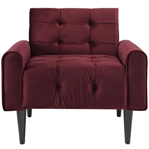 Delve Performance Velvet Armchair in Maroon