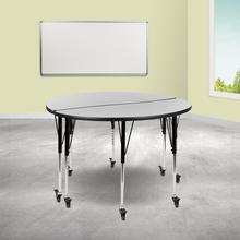 """See Details - 2 Piece Mobile 47.5"""" Circle Wave Flexible Grey Thermal Laminate Adjustable Activity Table Set"""
