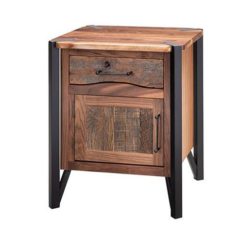 Green Gables Furniture - Hampshire 1 Door 1 Drawer Nightstand Hinged Left With Black Metal