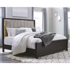 Maretto Queen Upholstered Panel Bed Two-tone