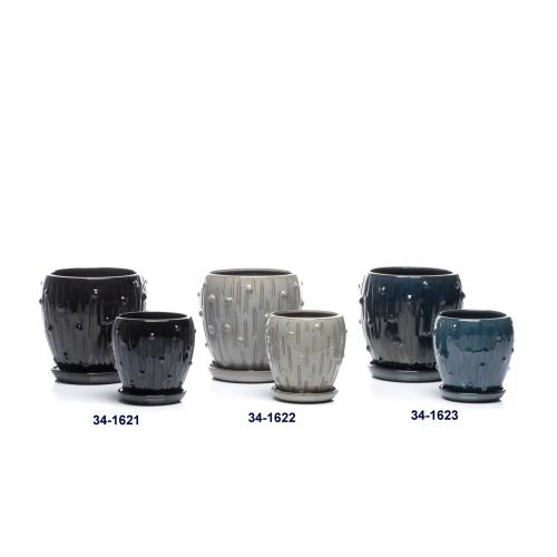 Planet Petits Pots w/ attached saucer, Black - Set of 2 (Min 4 sets)