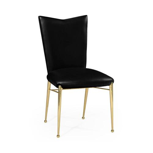 Art Decor gilded side chair with black leather