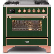 Majestic II 36 Inch Dual Fuel Liquid Propane Freestanding Range in Emerald Green with Copper Trim