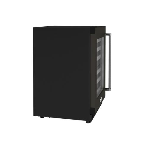 """KitchenAid Canada - 24"""" Undercounter Wine Cellar with Glass Door and Metal-Front Racks - Black Shell"""