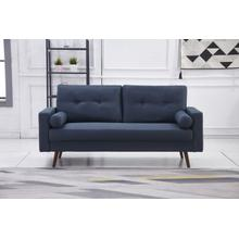 See Details - 8135 NAVY Linen Stationary Tufted Sofa