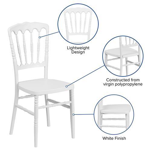 Flash Furniture - HERCULES Series White Resin Stacking Napoleon Chair