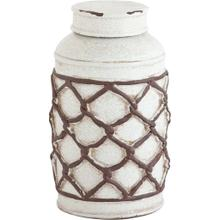 View Product - Cannata White Crackle w/ Brown Woven Rope Ceramic Jar