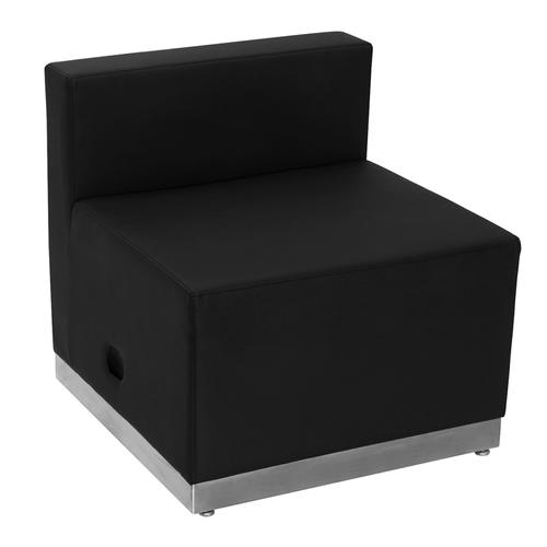HERCULES Alon Series Black LeatherSoft Chair with Brushed Stainless Steel Base
