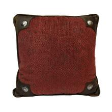 Wilderness Ridge Red Chenille Pillow W/ Conchos, 18x18