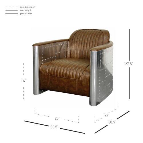 Easton PU Accent Arm Chair Aluminum Frame, Distressed Mocha