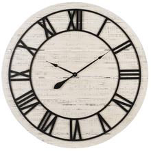 Whitewash Shiplap Wall Clock