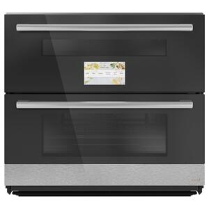 "Cafe AppliancesMinimal Series 30"" Smart Built-In Twin Flex Single Wall Oven in Platinum Glass"