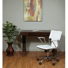 Dorado Office Chair With Fixed Padded Arms and Chrome Finish In White