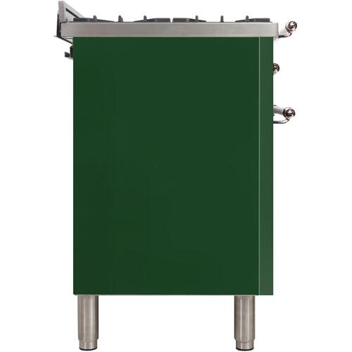 Nostalgie 48 Inch Dual Fuel Liquid Propane Freestanding Range in Emerald Green with Chrome Trim
