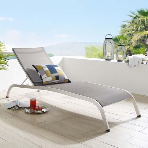 Savannah Mesh Chaise Outdoor Patio Aluminum Lounge Chair in Gray