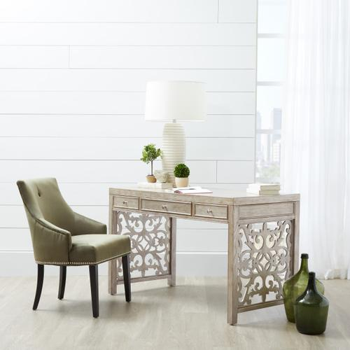 Trellis Accent Three Drawer Desk in Antique Silver