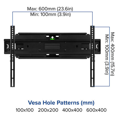 """FLASH MOUNT Full Motion TV Wall Mount - Built-In Level - Magnet Quick Release Pendants - Fit most TV's 40"""" - 84"""" (Weight Capacity 100LB)"""
