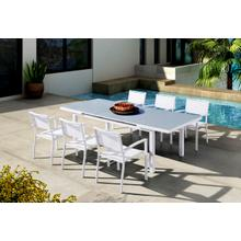 Renava Tybee Outdoor White Extendable Dining Table Set