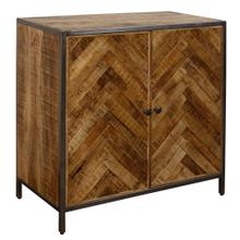 HERRINGBONE SOLID MANGO  31ht X 31w X 16d  Two Door Cabinet Made of Chatter Cut with Gun Metal Pow