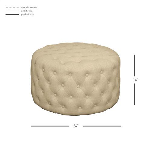 Lulu Round Fabric Tufted Ottoman, Flax