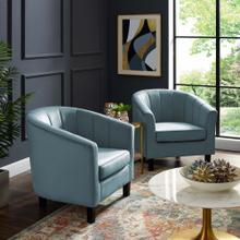 Prospect Channel Tufted Performance Velvet Armchair Set of 2 in Light Blue
