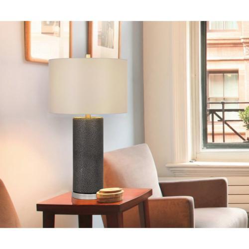 Cal Lighting & Accessories - 150W 3 way Graham ceramic table lamp with hardback drum fabric shade