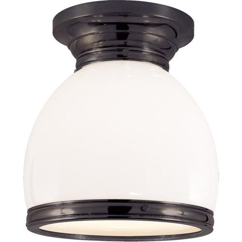 Visual Comfort CHC4132BZ-WG E. F. Chapman Edwardian 1 Light 10 inch Bronze Flush Mount Ceiling Light in White Glass, Open Bottom