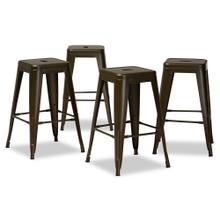 See Details - Baxton Studio Horton Modern and Contemporary Industrial Gunmetal Finished Metal 4-Piece Stackable Counter Stool Set
