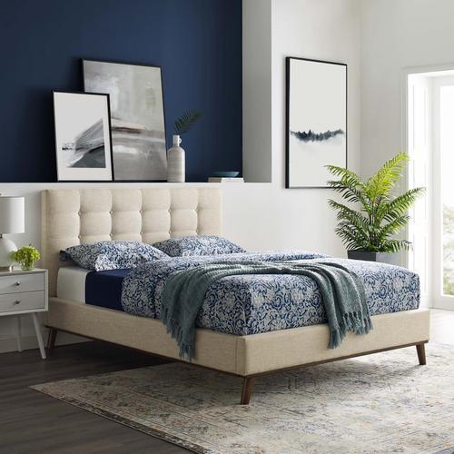Modway - McKenzie Queen Biscuit Tufted Upholstered Fabric Platform Bed in Beige