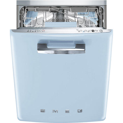 "Approx 24"" Pre-finished Under-Counter Dishwasher with 50'S Style Retro handle, Pastel blue"