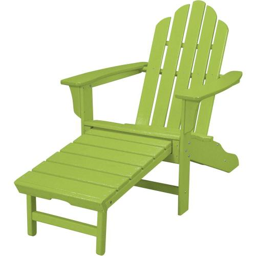 Hanover All-Weather Contoured Adirondack Chair with Hideaway Ottoman- Lime, HVLNA15LI