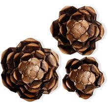 See Details - Copper Flower Power Metal Art  25in Dia X 18in Dia X 14in Dia  Metal Art Set Of 3