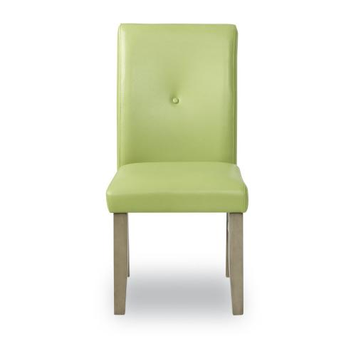 Upholstered Faux Leather Side Chair, Green and Grey