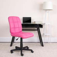 View Product - Mid-Back Pink Quilted Vinyl Swivel Task Office Chair