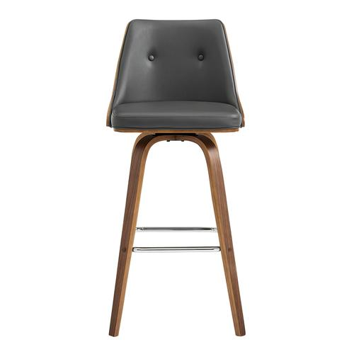 """Armen Living - Nolte 30"""" Swivel Bar Stool in Grey Faux Leather and Walnut Wood"""