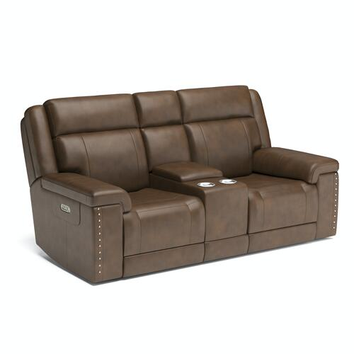Flexsteel - Yuma Power Reclining Loveseat with Console and Power Headrests