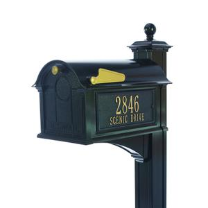 Balmoral Mailbox Side Plaques, Post Package - Black Product Image