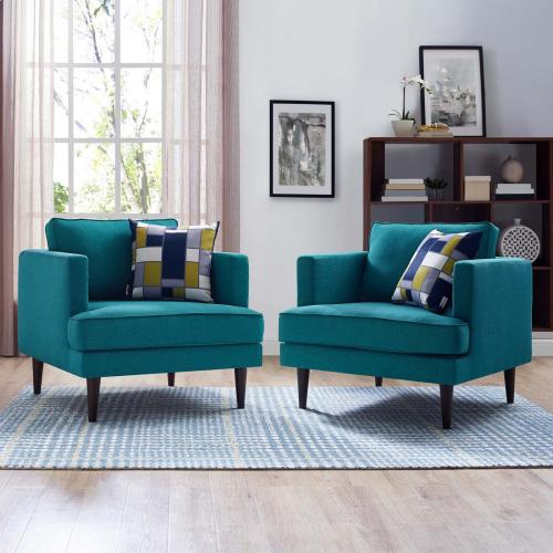Modway - Agile Upholstered Fabric Armchair Set of 2 in Teal