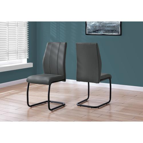 "DINING CHAIR - 2PCS / 39""H / GREY LEATHER-LOOK / METAL"