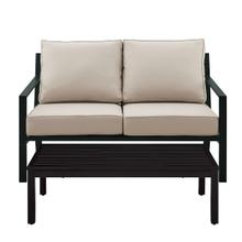 Product Image - Metal X Back Upholstered Outdoor Loveseat and Table Set in Black / Beige